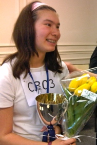 Anita Youngblood, 1st place winner, in the Cheetahs Division of the 2012 Paris Spelling Bee Oral Finals