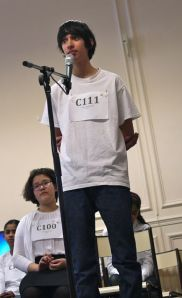 Hari O'Neil, tying in 3rd place in the 2013 Paris Spelling Bee Cheetah Division