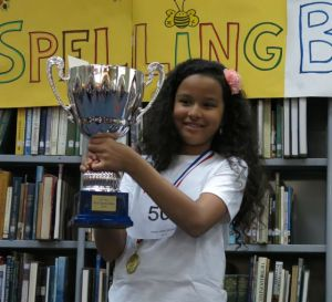 1st place winner of the 2015 Paris Spelling Bee, Riti Adrija NALUKURTI (CM1/ 4th grade), EIB Victor Hugo International School